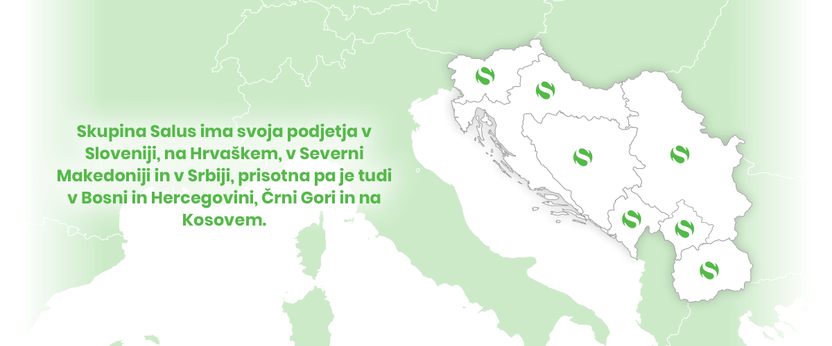 Skupina Salus ima svoja podjetja v Sloveniji, na Hrvaškem, v Severni Makedoniji in v Srbiji, prisotna pa je tudi v Bosni in Hercegovini, Črni Gori in na Kosovem.